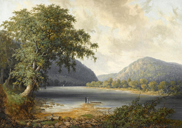Thomas Doughty (American, 1793-1856) River landscape with figures 17 x 24in