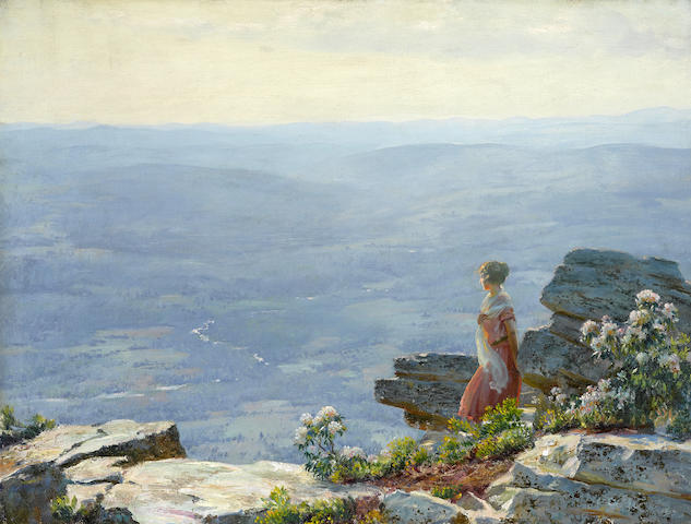 Charles Courtney Curran (American, 1861-1942) Haze in the Valley 30 x 40in