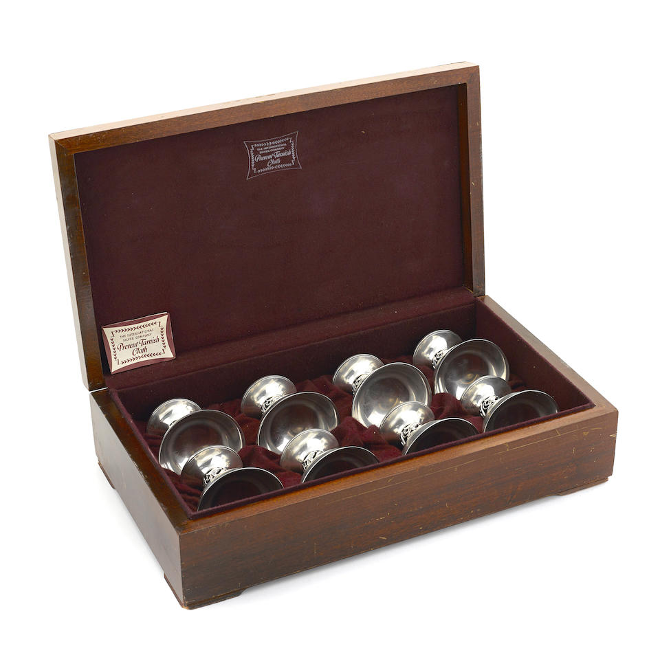 A cased set of eight American  sterling silver  Modernist pedestal dessert cups designed by Alphonse LaPaglia for International Silver Co., Meriden, CT mid-20th century