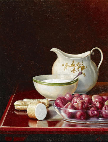 George Cope (American, 1855-1929) Still Life with Berries, Sugar, and Cream Pitcher 12 x 9in