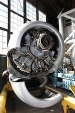 "A Pratt and Whitney R-4360 ""Wasp Major"" radial aircraft engine,"
