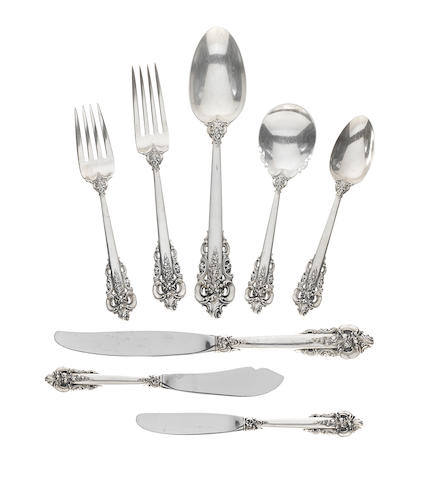 An American  sterling silver  part flatware service for twelve by Wallace Silversmiths, Wallingford, CT, 20th century