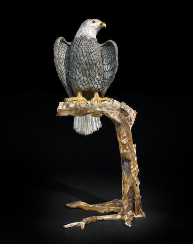 Monumental Obsidian Carving of an Eagle