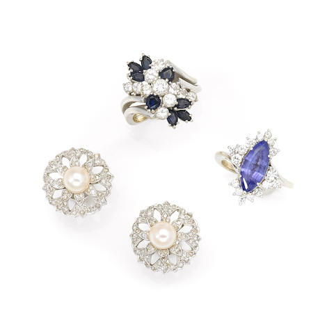 A group of gem-set, diamond and white gold jewelry