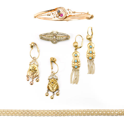 A group of gem-set and 14k and 18k gold jewelry