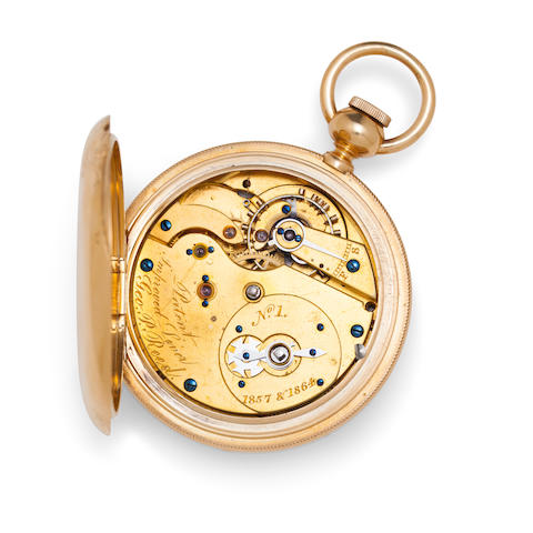 "George P. Reed, Boston. An important 18K gold hunter case ""Improved Lever"" watchNo. 1, signed ""Patent improved lever/1857 & 1864"""