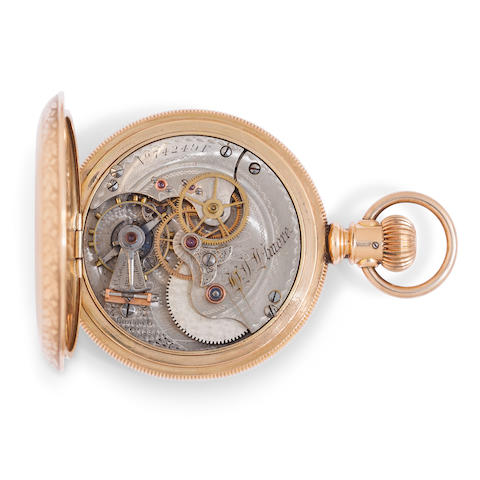 Elgin. An engraved gold hunter cased highly jeweled and modified doctor's center seconds watchNo. 742491, also signed D.I. Elmore, Canton, O., 1889 and A. L. Keller's Patent regulator