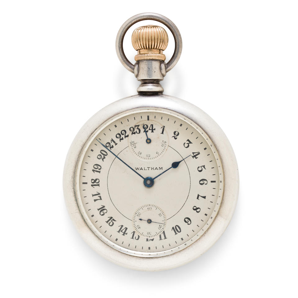 Waltham. A fine silver open face military timepiece with 24-hour dial and winding indicator.Vanguard, No. 25401453, circa 1925