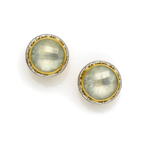 A pair of mother of pearl, quartz, platinum, 22k and 18k gold earrings