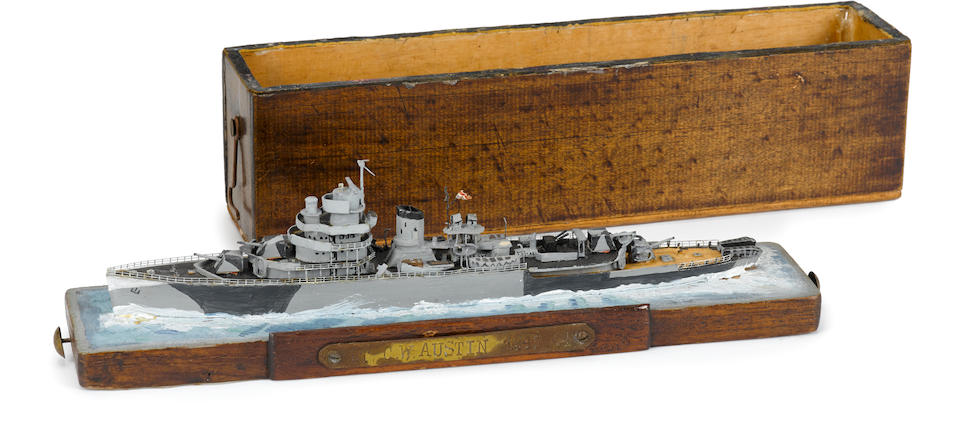 A waterline model of the HNLMS Van Kinsbergen circa 1945 9 x 2 x 3 in (22.8 x 5 x 7.62 cm), the box.