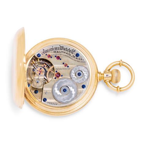 """Waltham. A fine and very rare 18K gold hunter cased watch with Charles van der Woerd's patent balanceAmerican Watch Co., No. 999966, signed on case and movement, """"Woerd's Patent Compensating Balance"""""""