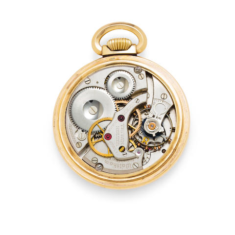 Waltham. An unusual open face center seconds watch with winding indicatorNo. 99999997, signed Vanguard, presumably a prototype