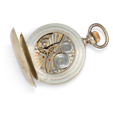 Elgin. A fine silver open face deck watch with winding indicatorFather Time, No. 15394374, circa 1910