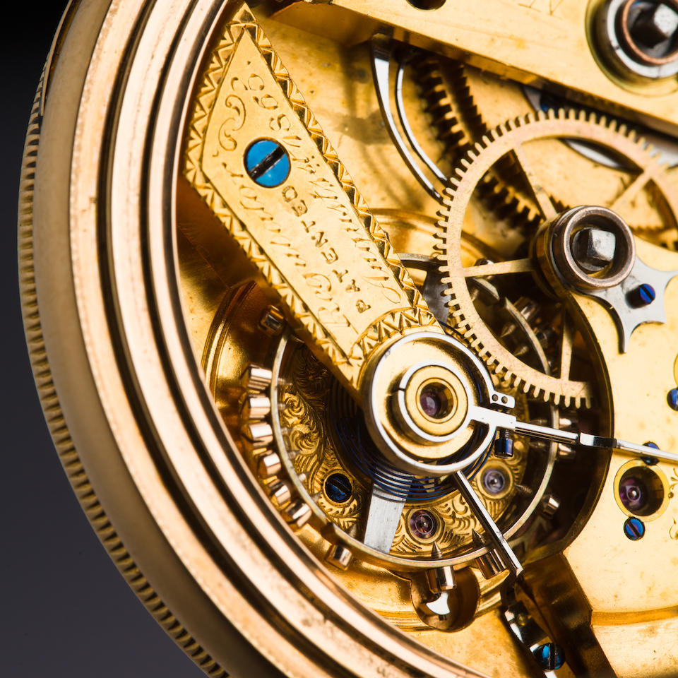 """George P. Reed. A highly innovative 14K gold open face chronometerNo. 5, signed """"Improved Chronometer Pat'd Aug. 1, 1865"""""""