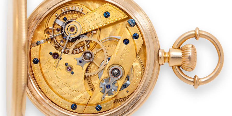 "George P. Reed. A highly innovative 14K gold open face chronometerNo. 5, signed ""Improved Chronometer Pat'd Aug. 1, 1865"""