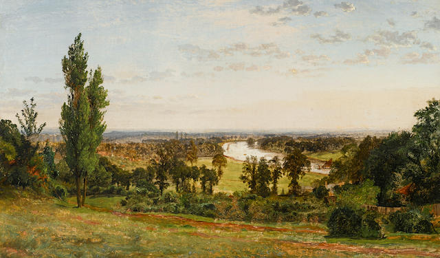 Jasper Francis Cropsey (American, 1823-1900) View of Richmond Hill 12 1/2 x 20 1/2in