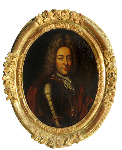 French School, 18th Century A portrait of a nobleman, wearing armor, bust-length oval, 16 1/4 x 13in