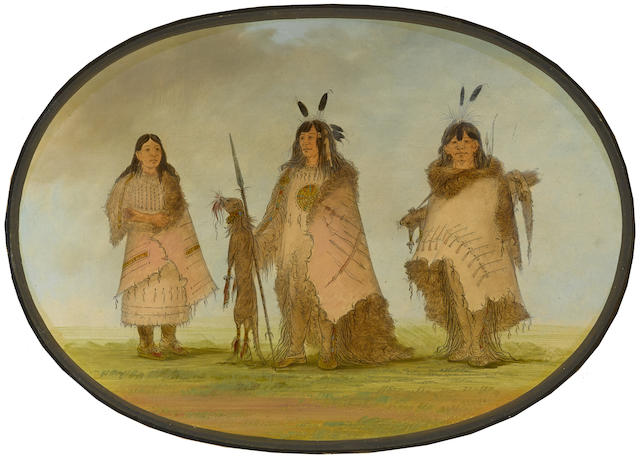 George Catlin (American, 1794-1872) Blackfoot Indian Group 16 1/4 x 22 3/4in, oval