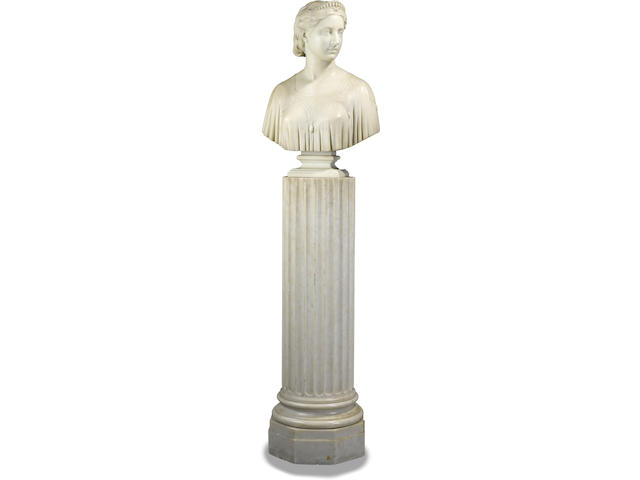 Hiram Powers (American, 1805-1873) Ginevra 26 1/2in high on a marble pedestal 43 1/2in high, 70in overall