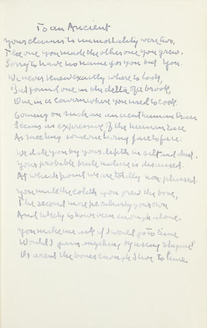 "FROST, ROBERT. 1874-1963. Autograph Manuscript Signed (""R.F."") and Inscribed"