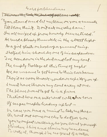 "FROST, ROBERT. 1874-1963. Autograph Manuscript Signed (""Robert Frost""), titled ""Gold for Christmas,"""