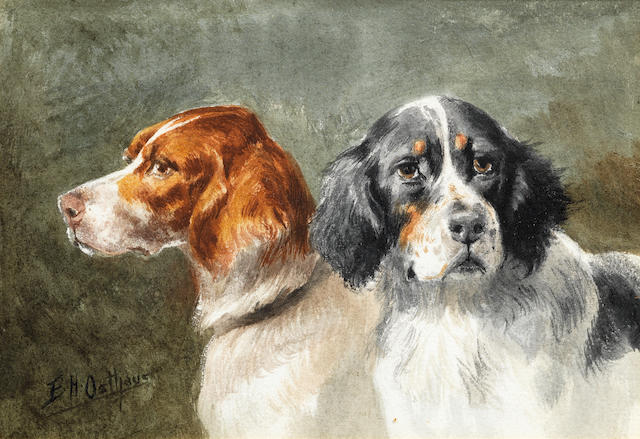 Edmund Henry Osthaus (American, 1858-1928) A portrait of two Setters 4 1/2 x 6 3/4in. (11.5 x 17cm.)
