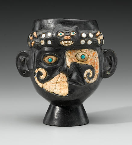 Fine and Rare Moche Portrait Head Vessel of a Ruler, Middle Mochica, ca. A.D. 200 - 500
