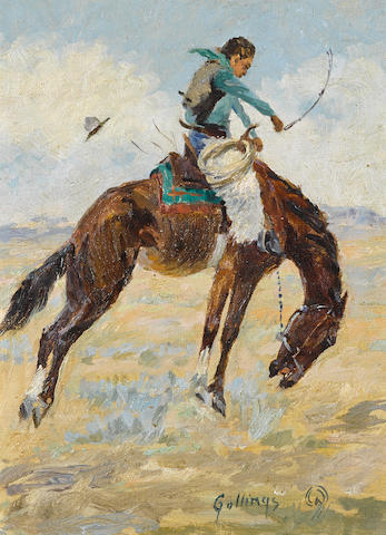 "Elling William ""Bill"" Gollings (American, 1878-1932) Bucking bronco 7 3/4 x 6in overall: 8 1/4 x 6 1/2in"