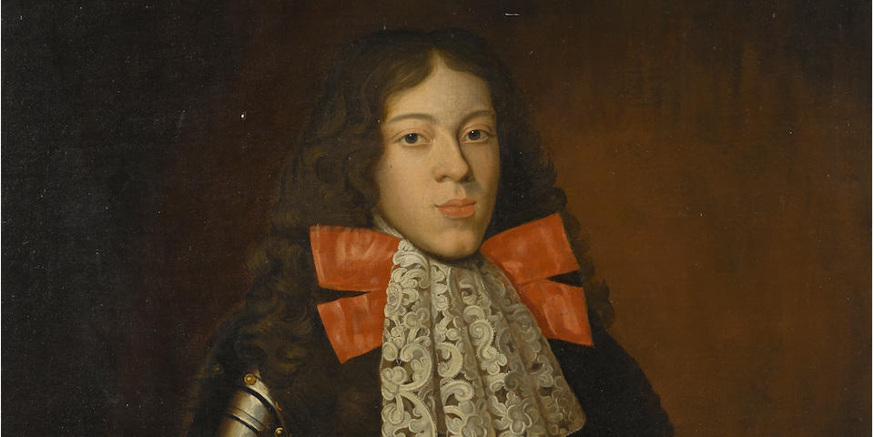 Circle of Alexis Simon Belle (born 1674 -died  1734) A portrait of a young man in armour, three-quarter length 46 1/4 x 34 3/4in (117.4 x 88.3cm)