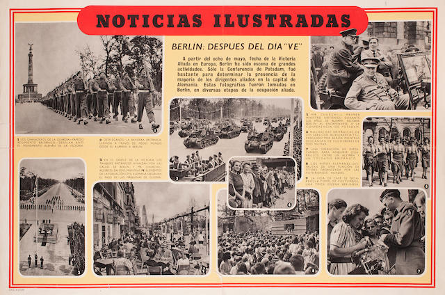 British propaganda posters, in Spanish and Portuguese, 1945 19 x 29 in., each