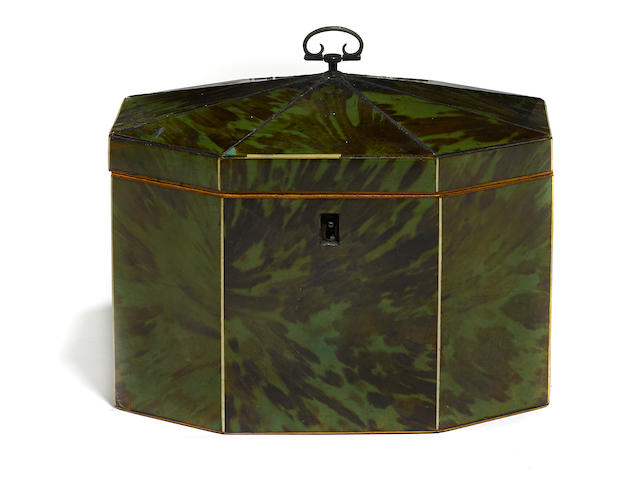 A George III green stained tortoiseshell tea caddy
