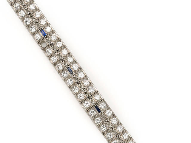 An art deco diamond and synthetic sapphire bracelet,