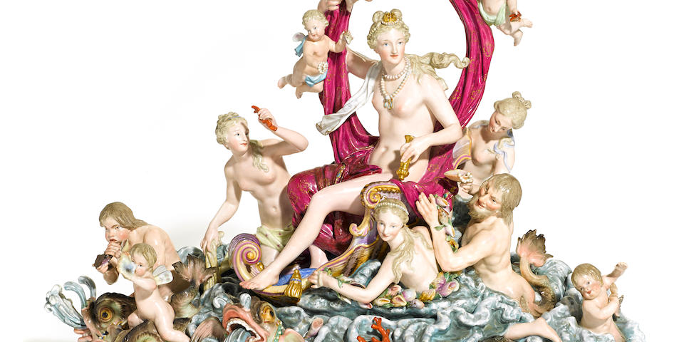 A Meissen porcelain mythological figural group: Triumph of Amphitrite late 19th century