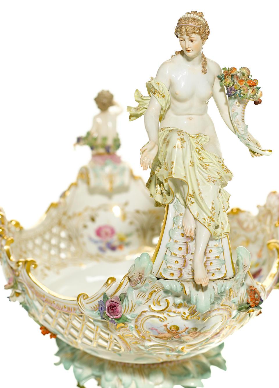 A good Meissen porcelain centerpiece  late 19th century
