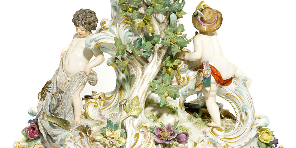 A good Meissen porcelain centerpiece  late 19th century