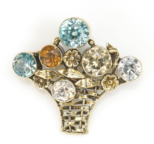 A vari-color zircon flower basket brooch