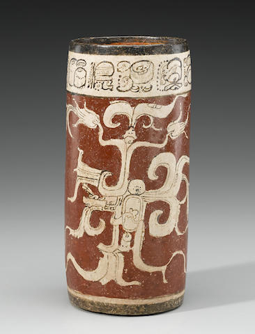 Maya Polychrome Vase depicting the Water Serpent, Late Classic, ca. A.D. 550 - 950
