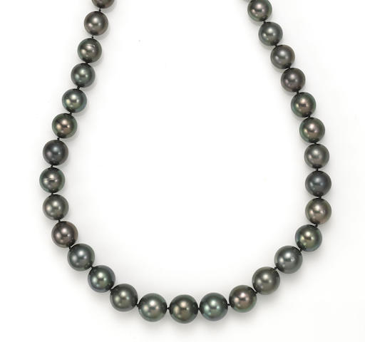 A colored South Sea cultured pearl and diamond necklace