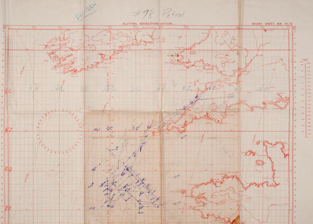 A convoy zig-zag chart for the western approach to the English Channel 43 x 31 in. (109.2 x 78.7 cm.), the chart. 3