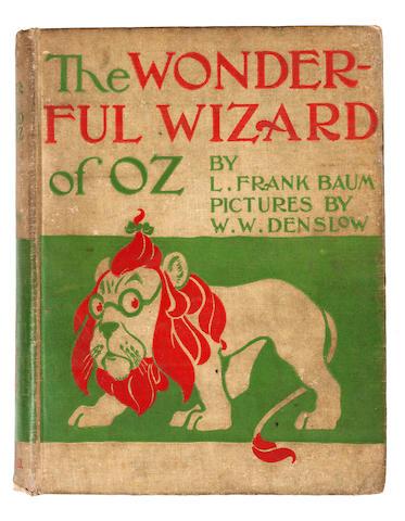 BAUM, L. FRANK. 1856-1919. DENSLOW, W.W., illus. The Wonderful Wizard of Oz. Chicago & New York: Geo. M. Hill Co., 1900.