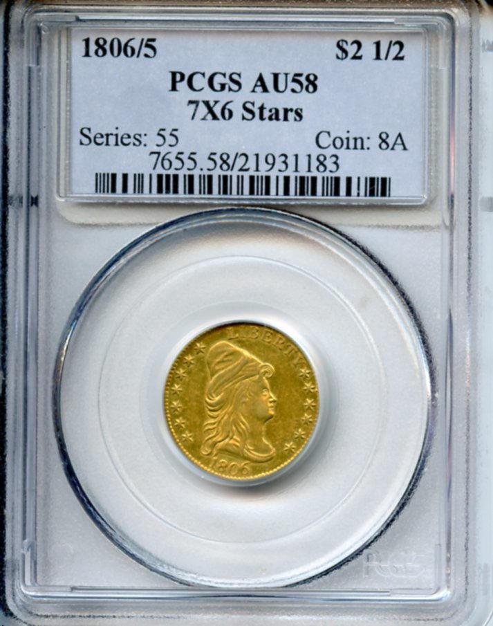 1806/5 $2.5 7x6 Stars AU58 PCGS