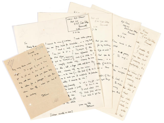 "LAWRENCE, THOMAS EDWARD. 1888-1935. 5 Autographed Letters Signed (""T.E. Shaw""), 6 pp, May 11 to October 6, 1926,"