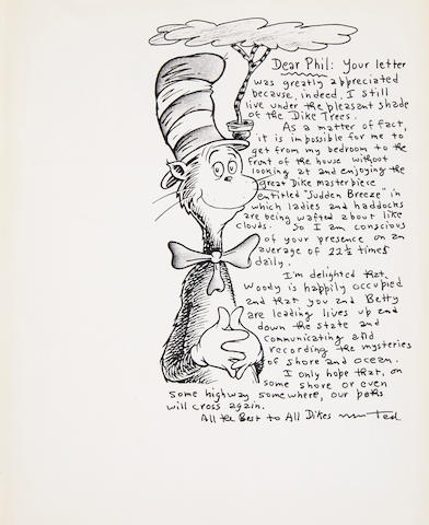 """GEISEL, THEODOR SEUSS. 1904-1991.  Autograph Letter Signed (""""Ted"""") with an original pen and ink illustration of a Dike Tree,"""