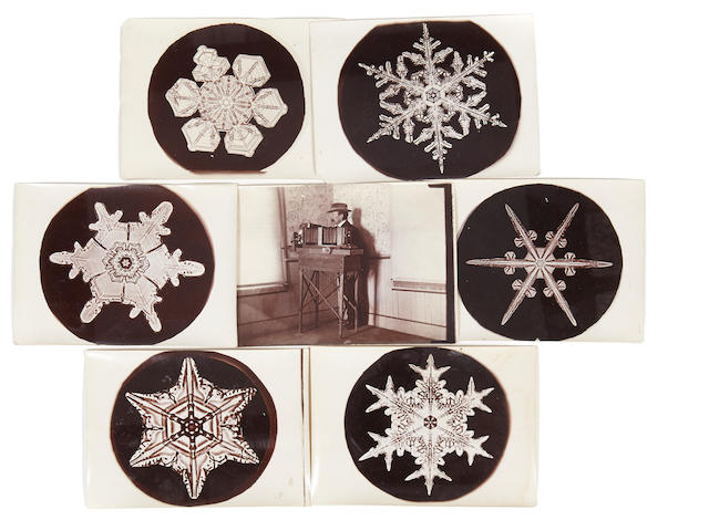 BENTLEY, WILSON. 1865-1931. Collection of 98 photomicrographs of snowflakes, 4 x 3 inches, 1890s-1920s,