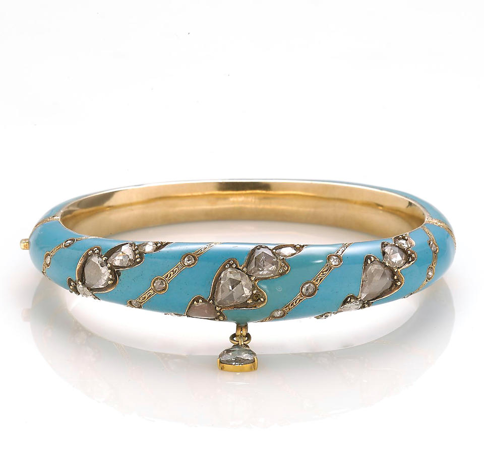 An enamel and diamond bangle bracelet
