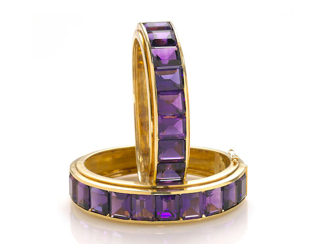 A pair of amethyst sister bangle bracelets