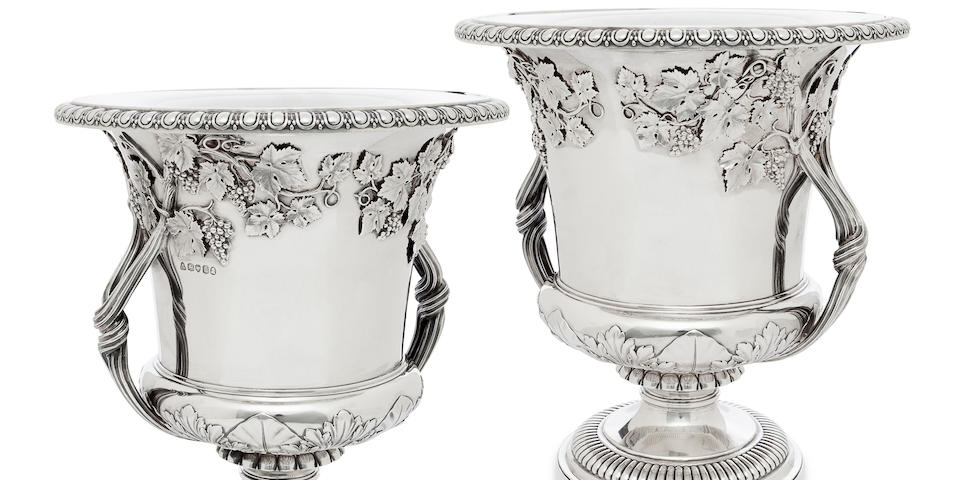 A pair of William IV sterling silver  two-handled wine coolers by John Bridge for Rundell, Bridge & Rundell, London,  1830