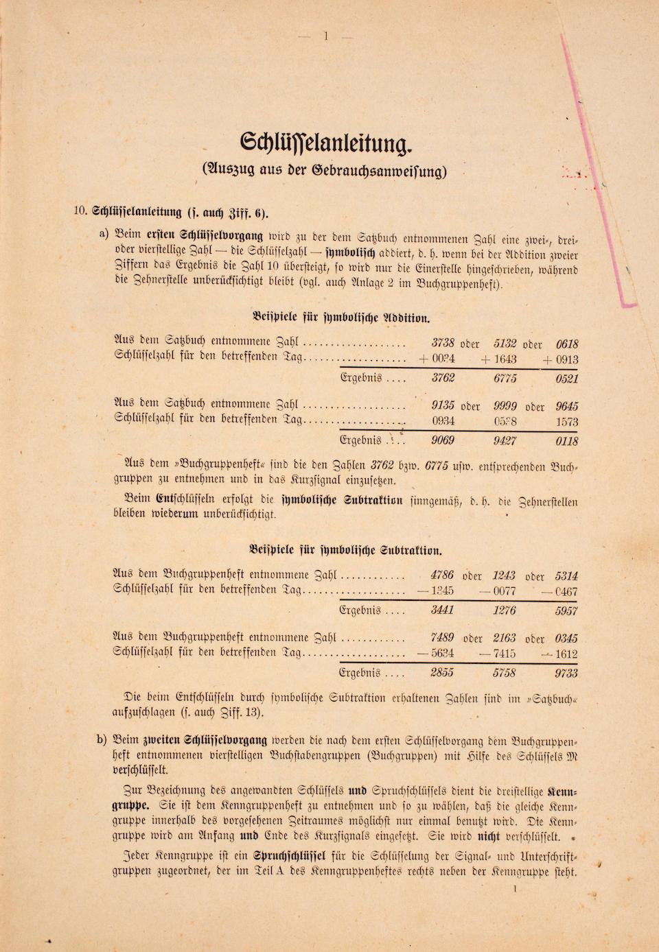 "A rare 1944 edition of the Kurzsignalheft, or ""Enigma Code Book"" circa 1944 12 x 8-1/2 in. (30.4 x 21.5 cm.)"