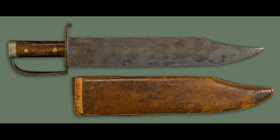 A massive factory-made Confederate D-guard bowie knife