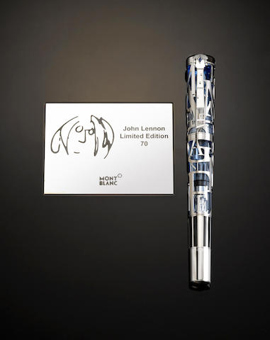 MONTBLANC: John Lennon 18K Solid White Gold Skeleton Limited Edition 70 Fountain Pen